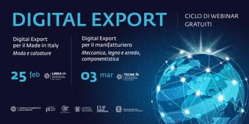 """CICLO DI WEBINAR: """"Digital Export, strategie e casi di successo"""", 25 febbraio e 3 marzo"""